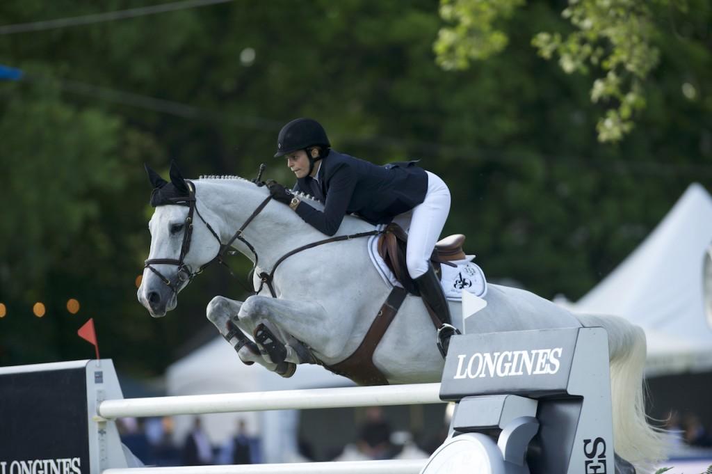 Athina Onassis et son cheval  lors du Horse Show 2014 à Pampelonne