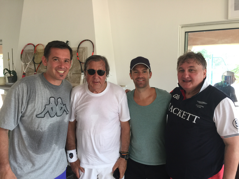 Saint-Tropez Classic Tennis Tour 2015 - Tournoi au Tennis Club de Saint-Tropez - Julien Fruitier (Noreve), Ilie Năstase, Michaël Massat (Directeur Noreve) & Aurel Munteanu