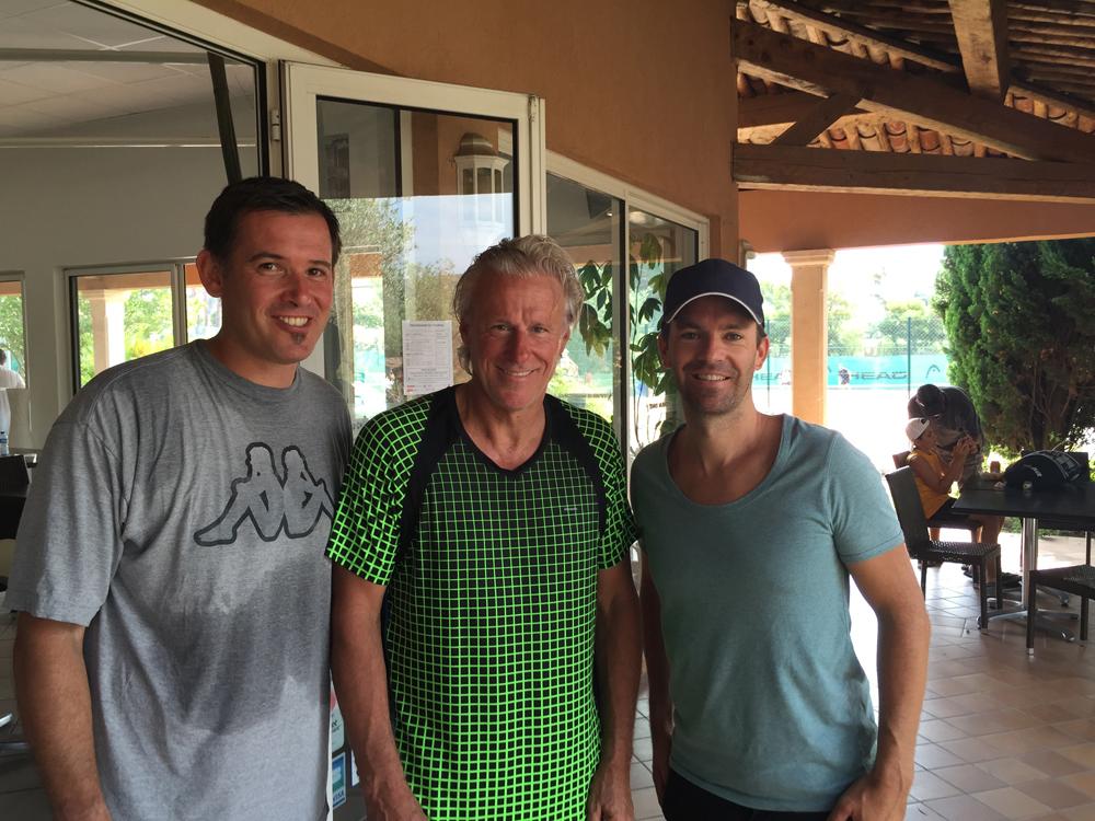 Saint-Tropez Classic Tennis Tour 2015 - Tournoi au Tennis Club de Saint-Tropez - Julien Fruitier (Noreve), Björn Borg & Michaël Massat (Directeur Noreve)