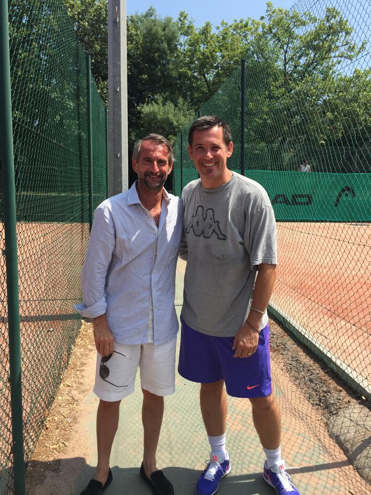 Saint-Tropez Classic Tennis Tour 2015 - Tournoi au Tennis Club de Saint-Tropez - Jean-Claude Blanc (directeur général délégué du Paris Saint-Germain) & Julien Fruitier (Noreve)