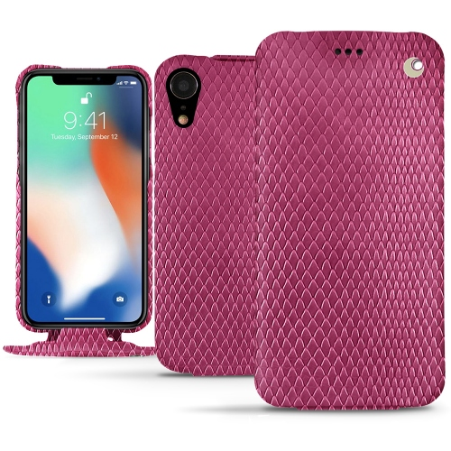 Premium Quality Leather Pouch for iPhone XR in Serpent ciclamino