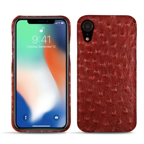 Premium Quality Leather Pouch for the iPhone XR in Autruche ciliegia